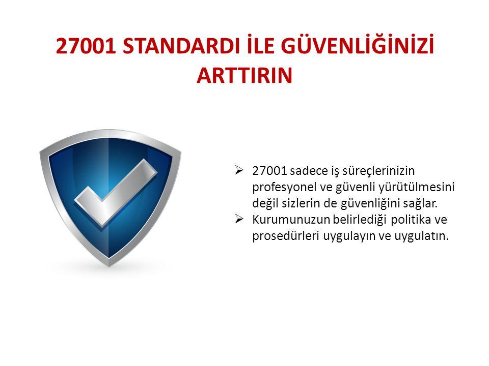 27001 STANDARDI İLE GÜVENLİĞİNİZİ ARTTIRIN  27001 sadece iş süreçlerinizin profesyonel ve güvenli yürütülmesini değil sizlerin de güvenliğini sağlar.
