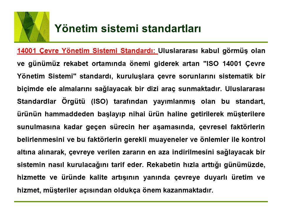 Yönetim sistemi standartları 14001 Çevre Yönetim Sistemi Standardı: Uluslararası kabul görmüş olan ve günümüz rekabet ortamında önemi giderek artan
