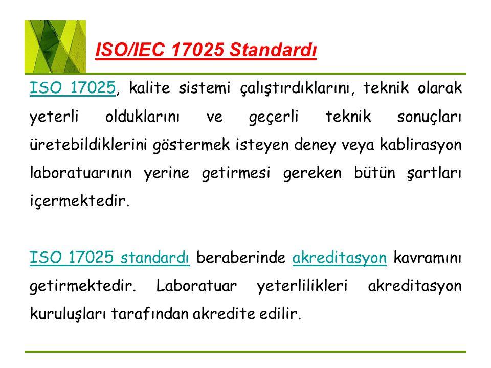 ISO/IEC 17025 Standardı ISO 17025ISO 17025, kalite sistemi çalıştırdıklarını, teknik olarak yeterli olduklarını ve geçerli teknik sonuçları üretebildi