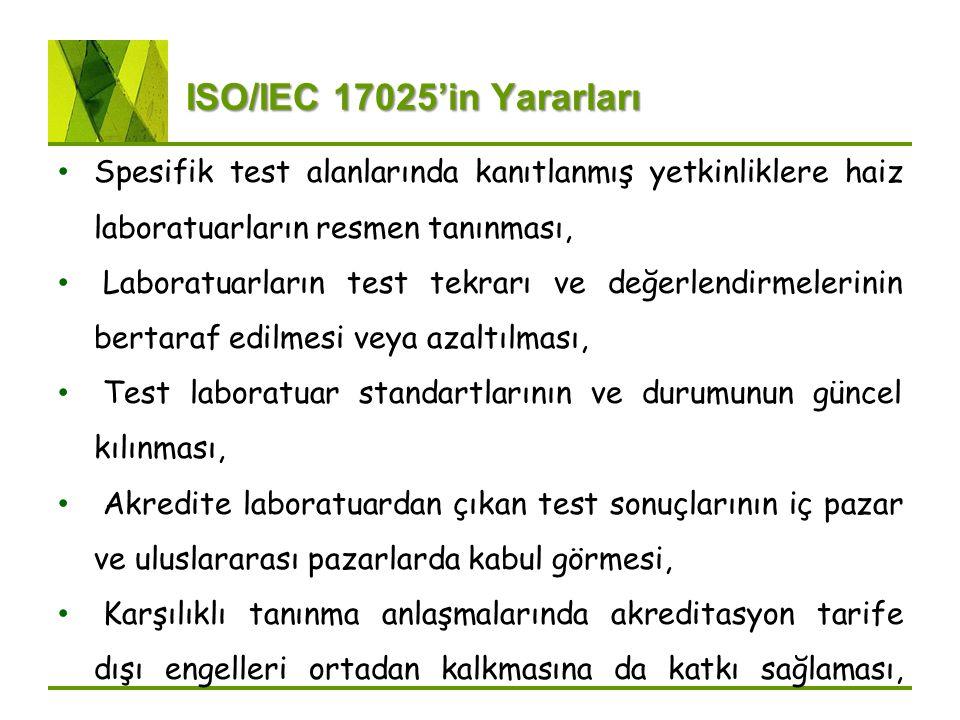 ISO/IEC 17025'in Yararları Spesifik test alanlarında kanıtlanmış yetkinliklere haiz laboratuarların resmen tanınması, Laboratuarların test tekrarı ve