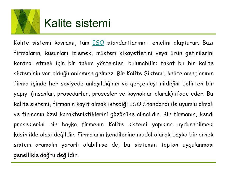 Kalite sistemi Kalite sistemi kavramı, tüm ISO standartlarının temelini oluşturur. Bazı firmaların, kusurları izlemek, müşteri şikayetlerini veya ürün