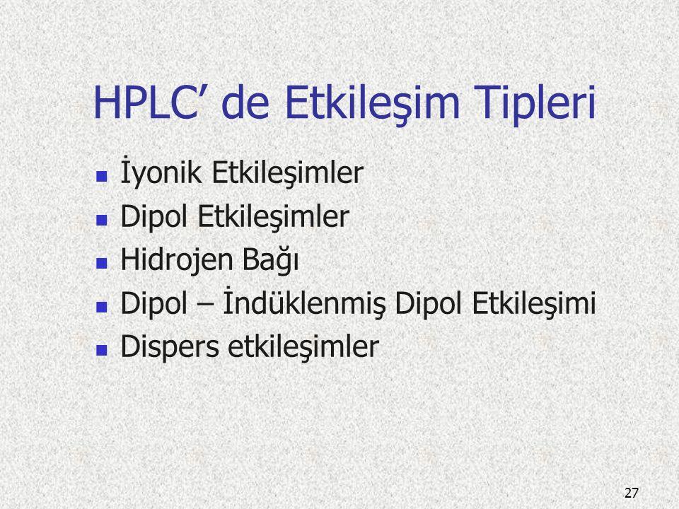 HPLC için çalışma parametreleri Ayırımın yapılacağı kolon Dedektör İsokratik & gradient çalışmanın şekli Çalışılacak dalga boyu Çalışma aralığı Mobil