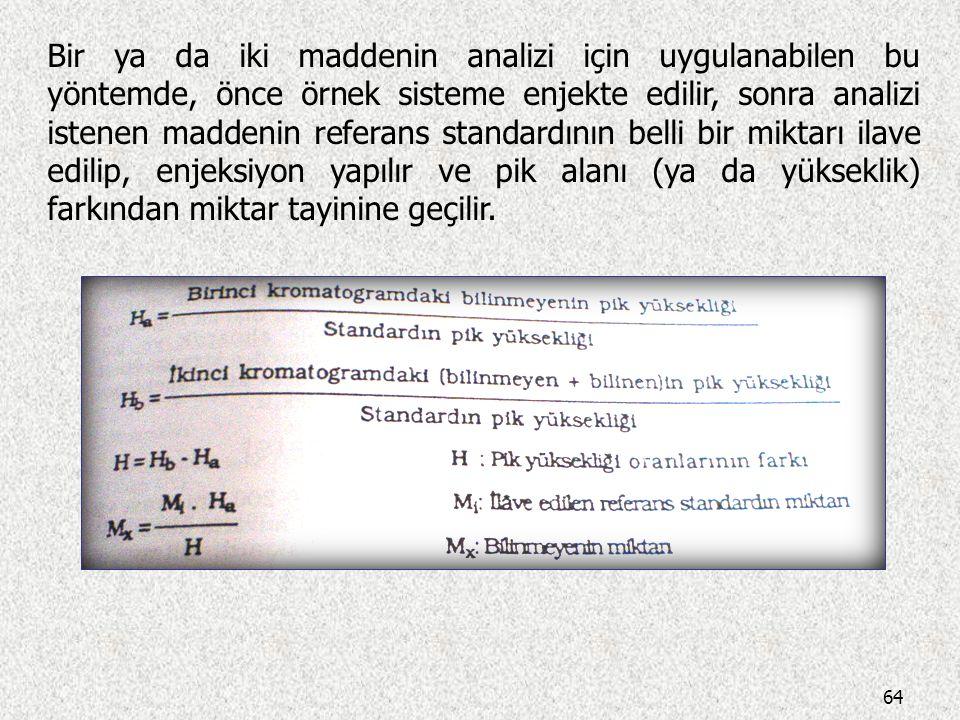 63  Standart İlavesi Yönteminde, aynı miktarda alınan numunelere, artan derişimlerde standart çözelti ilave edilir. İlk numune çözeltisine ilave yapı