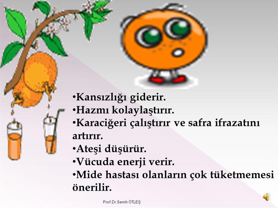 Portakal içerdiği bol C vitamininin yanı sıra B vitamini, potasyum, kalsiyum, magnezyum da içerir. Soğuk algınlığı grip ve benzeri hastalıklarda vücud