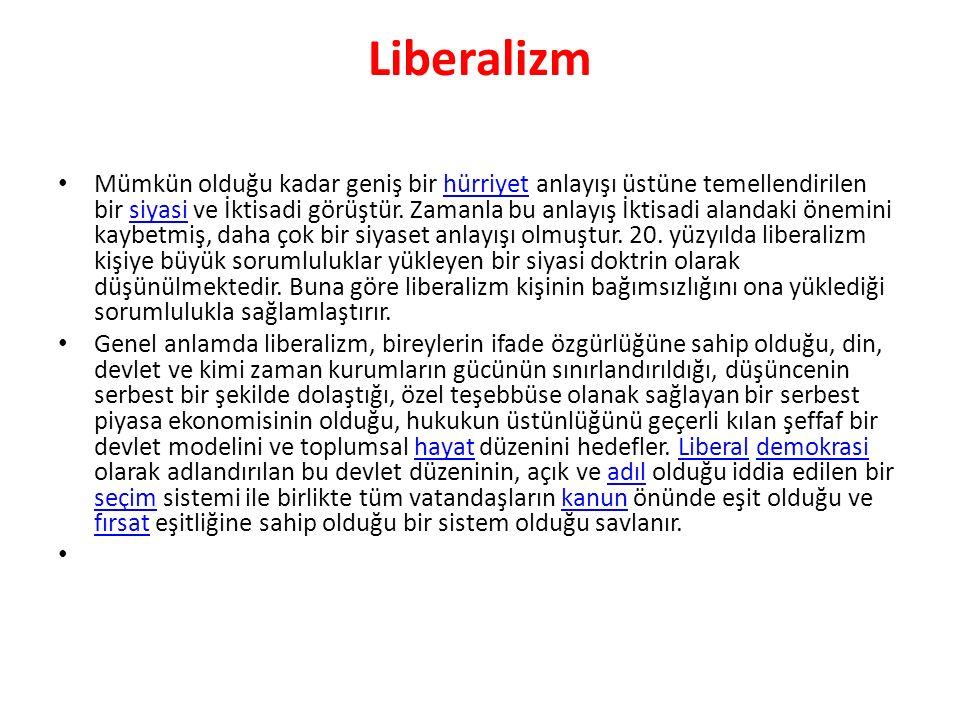 Liberalizm Mümkün olduğu kadar geniş bir hürriyet anlayışı üstüne temellendirilen bir siyasi ve İktisadi görüştür. Zamanla bu anlayış İktisadi alandak