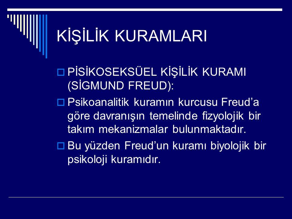 KİŞİLİK KURAMLARI  PİSİKOSEKSÜEL KİŞİLİK KURAMI (SİGMUND FREUD):  Psikoanalitik kuramın kurcusu Freud'a göre davranışın temelinde fizyolojik bir tak
