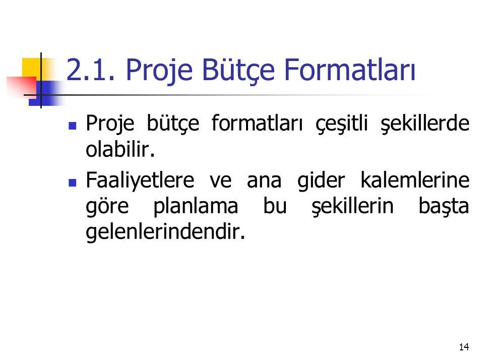 2.1. Proje Bütçe Formatları Proje bütçe formatları çeşitli şekillerde olabilir.