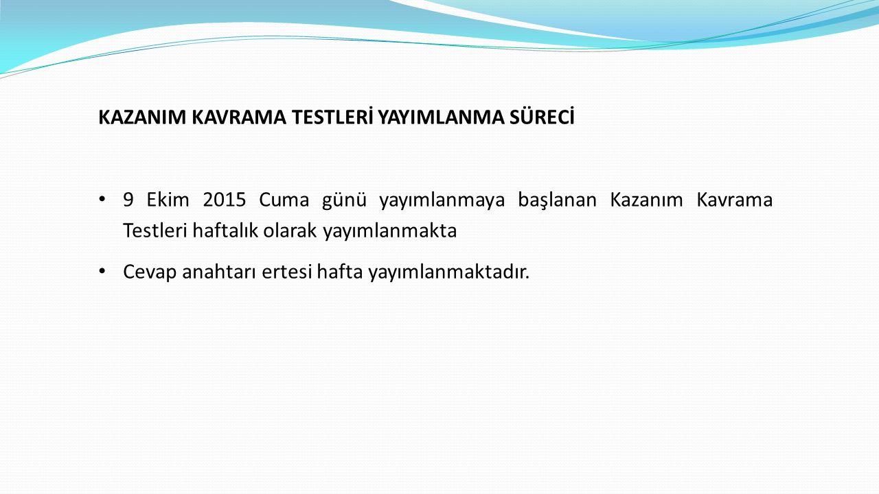 KAZANIM KAVRAMA TESTLERİ YAYIMLANMA SÜRECİ 9 Ekim 2015 Cuma günü yayımlanmaya başlanan Kazanım Kavrama Testleri haftalık olarak yayımlanmakta Cevap anahtarı ertesi hafta yayımlanmaktadır.