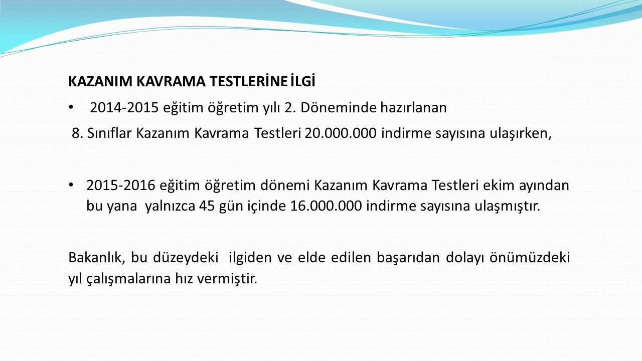 KAZANIM KAVRAMA TESTLERİNE İLGİ 2014-2015 eğitim öğretim yılı 2.