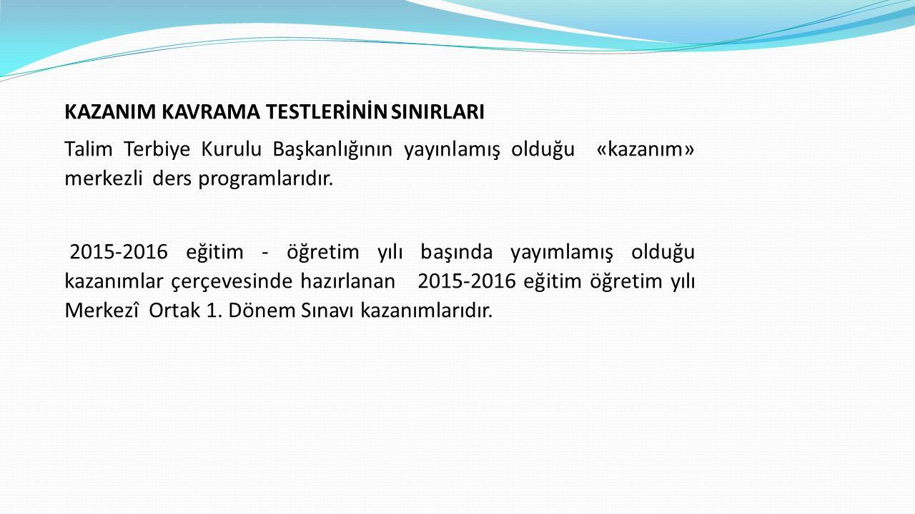 KAZANIM KAVRAMA TESTLERİNİN SINIRLARI Talim Terbiye Kurulu Başkanlığının yayınlamış olduğu «kazanım» merkezli ders programlarıdır. 2015-2016 eğitim -