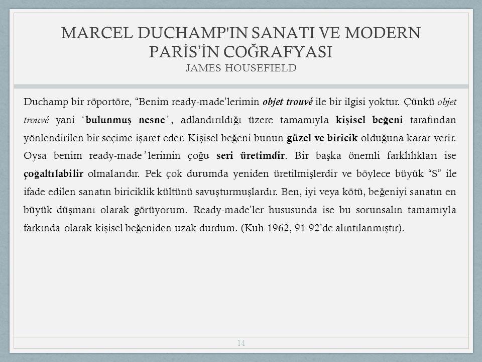 14 Duchamp bir röportöre, Benim ready-made ' lerimin objet trouvé ile bir ilgisi yoktur.