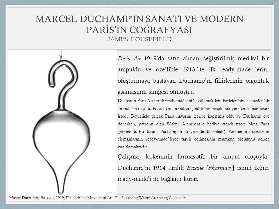 21 Paris Air 1919 ' da satın alınan de ğ i ş tirilmi ş medikal bir ampuldü ve özellikle 1913 ' te ilk ready-made ' lerini olu ş turmaya ba ş layan Duchamp ' ın fikirlerinin olgunluk a ş amasının simgesi olmu ş tur.