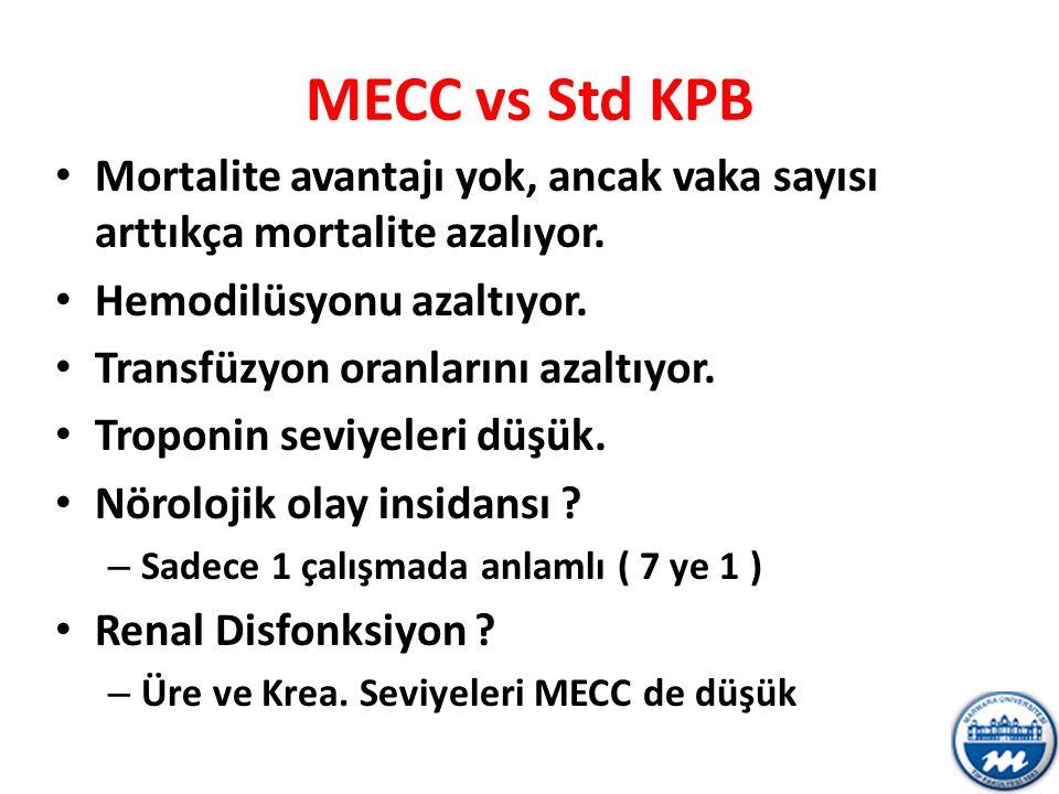MECC vs Std KPB Mortalite avantajı yok, ancak vaka sayısı arttıkça mortalite azalıyor. Hemodilüsyonu azaltıyor. Transfüzyon oranlarını azaltıyor. Trop