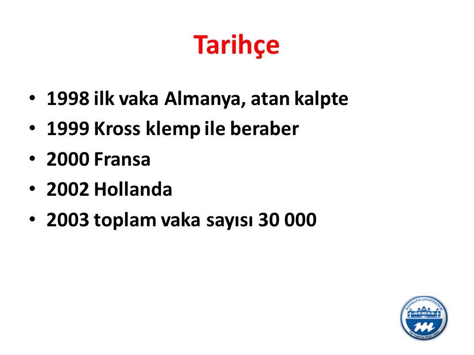 Tarihçe 1998 ilk vaka Almanya, atan kalpte 1999 Kross klemp ile beraber 2000 Fransa 2002 Hollanda 2003 toplam vaka sayısı 30 000