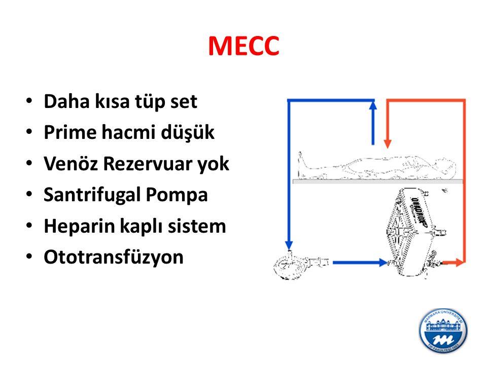 MECC Daha kısa tüp set Prime hacmi düşük Venöz Rezervuar yok Santrifugal Pompa Heparin kaplı sistem Ototransfüzyon