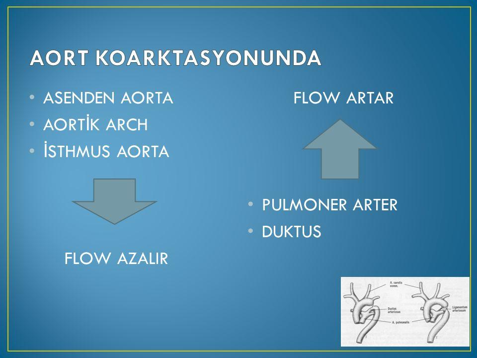 ASENDEN AORTA AORT İ K ARCH İ STHMUS AORTA FLOW AZALIR FLOW ARTAR PULMONER ARTER DUKTUS