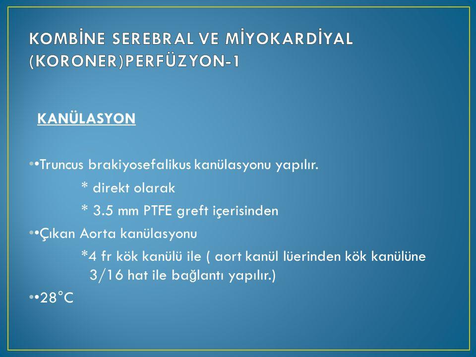 KANÜLASYON Truncus brakiyosefalikus kanülasyonu yapılır.