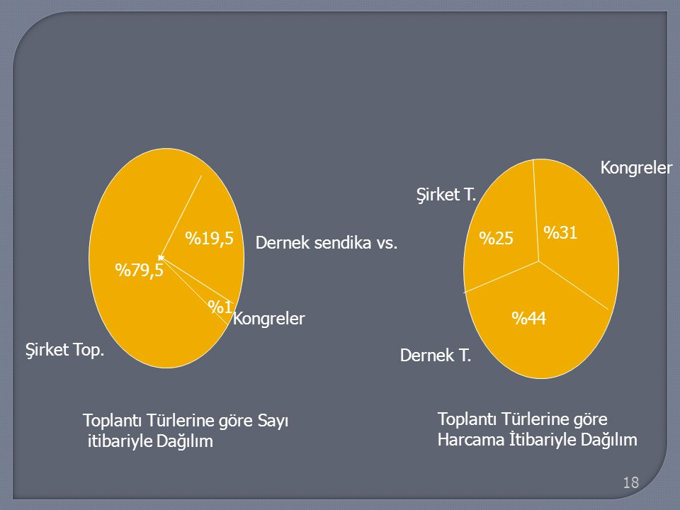 18 Dernek sendika vs. %19,5 %79,5 Şirket Top. %44 %31 %25 Dernek T. Kongreler Şirket T. Kongreler %1 Toplantı Türlerine göre Sayı itibariyle Dağılım T