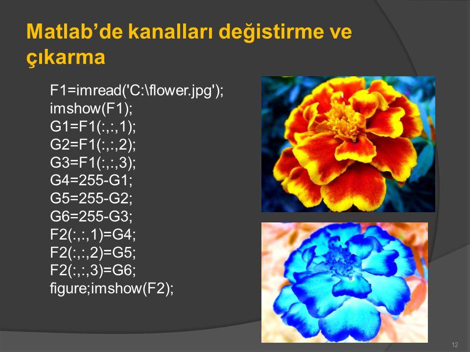Matlab'de kanalları değistirme ve çıkarma F1=imread( C:\flower.jpg ); imshow(F1); G1=F1(:,:,1); G2=F1(:,:,2); G3=F1(:,:,3); G4=255-G1; G5=255-G2; G6=255-G3; F2(:,:,1)=G4; F2(:,:,2)=G5; F2(:,:,3)=G6; figure;imshow(F2); 12