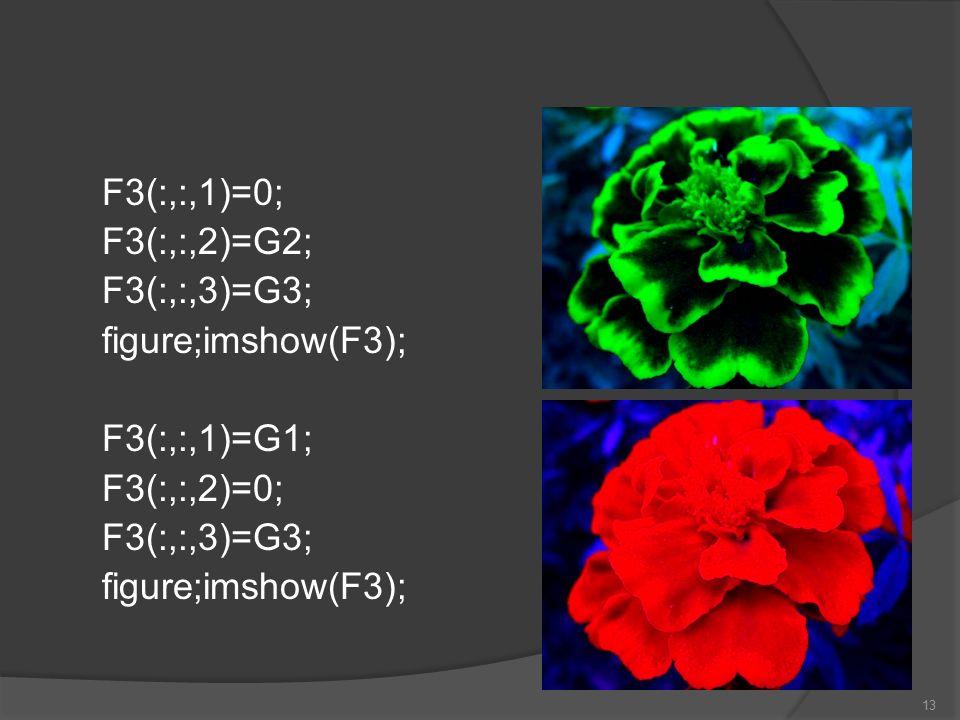 F3(:,:,1)=0; F3(:,:,2)=G2; F3(:,:,3)=G3; figure;imshow(F3); F3(:,:,1)=G1; F3(:,:,2)=0; F3(:,:,3)=G3; figure;imshow(F3); 13
