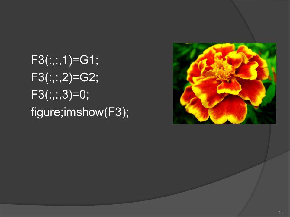 F3(:,:,1)=G1; F3(:,:,2)=G2; F3(:,:,3)=0; figure;imshow(F3); 14