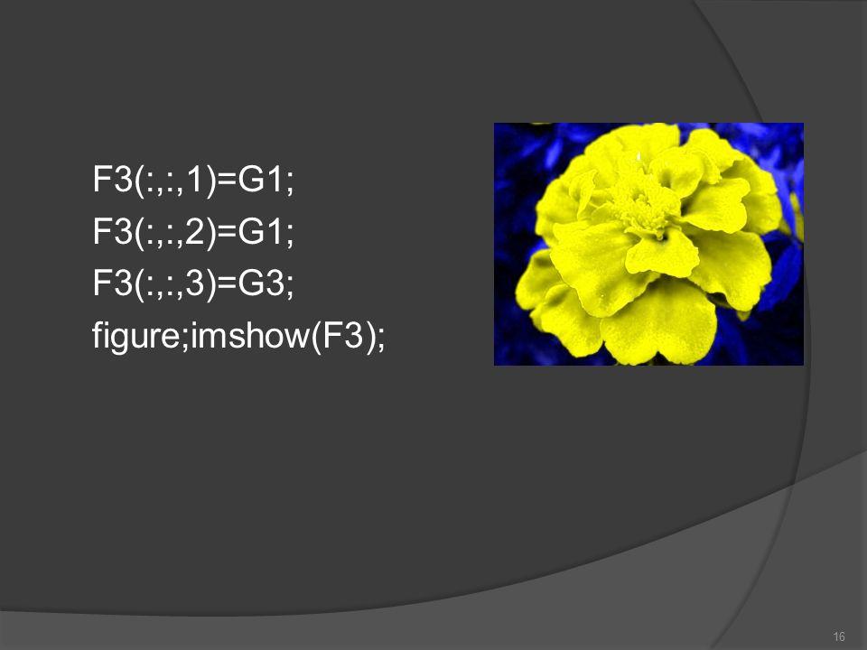 F3(:,:,1)=G1; F3(:,:,2)=G1; F3(:,:,3)=G3; figure;imshow(F3); 16