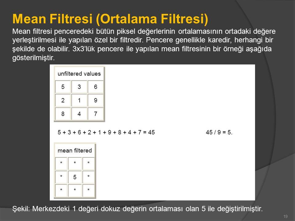 Mean Filtresi (Ortalama Filtresi) Mean filtresi penceredeki bütün piksel değerlerinin ortalamasının ortadaki değere yerleştirilmesi ile yapılan özel bir filtredir.