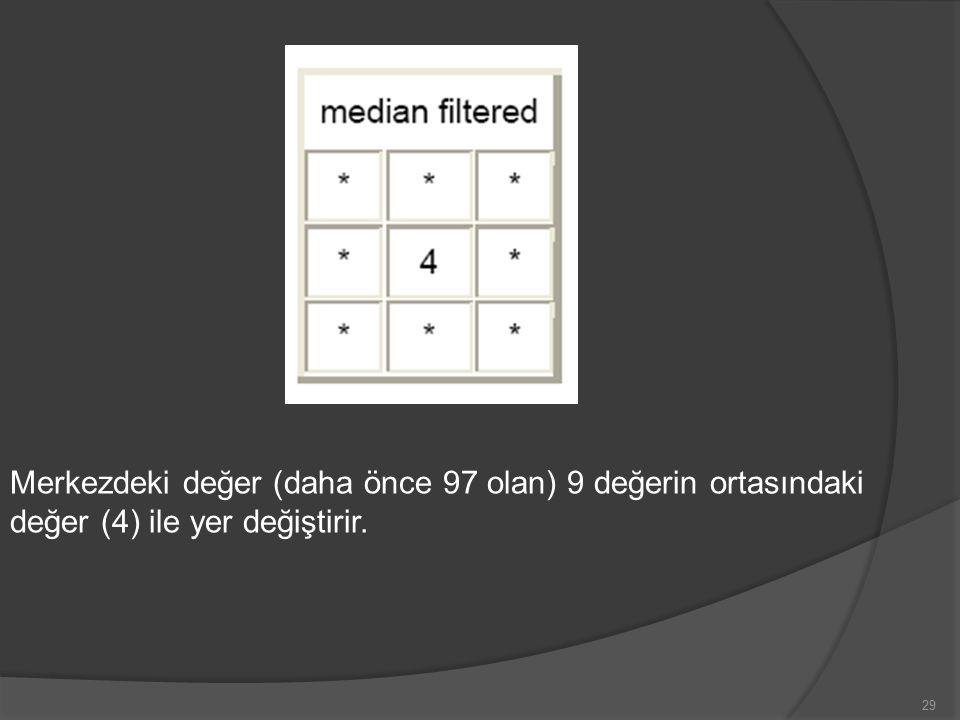 Merkezdeki değer (daha önce 97 olan) 9 değerin ortasındaki değer (4) ile yer değiştirir. 29