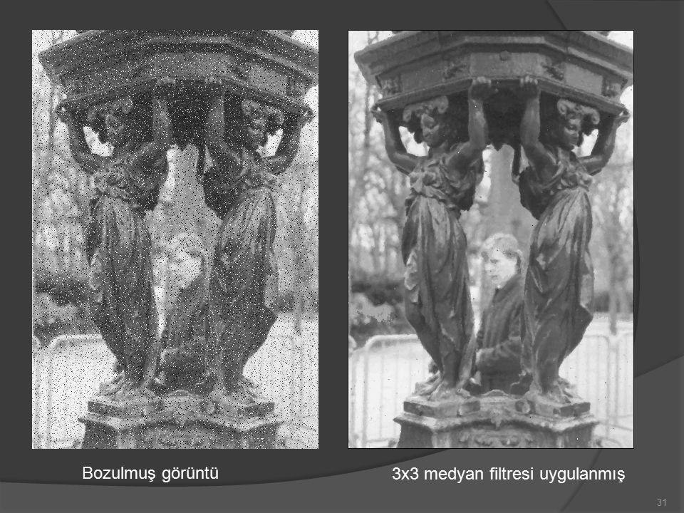 31 Bozulmuş görüntü 3x3 medyan filtresi uygulanmış