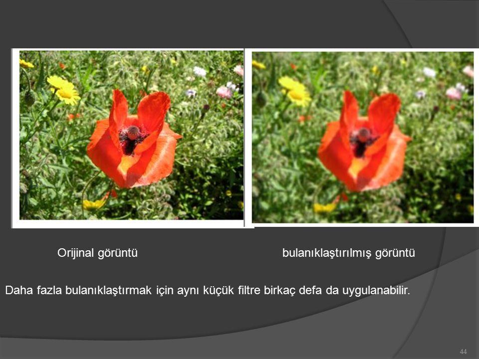 Orijinal görüntü bulanıklaştırılmış görüntü Daha fazla bulanıklaştırmak için aynı küçük filtre birkaç defa da uygulanabilir.