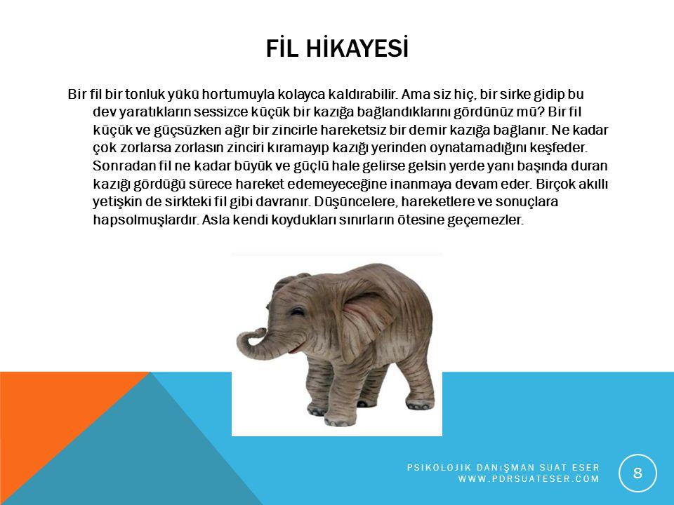 FİL HİKAYESİ Bir fil bir tonluk yükü hortumuyla kolayca kaldırabilir. Ama siz hiç, bir sirke gidip bu dev yaratıkların sessizce küçük bir kazığa bağla