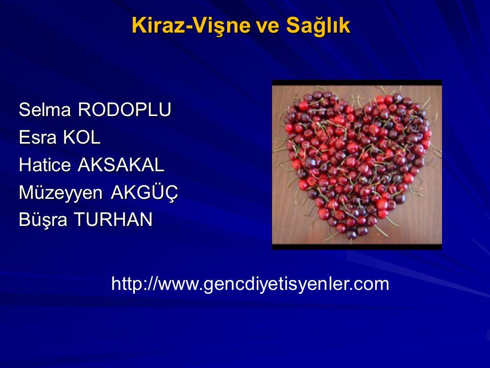 Kiraz-Vişne ve Sağlık Selma RODOPLU Esra KOL Hatice AKSAKAL Müzeyyen AKGÜÇ Büşra TURHAN http://www.gencdiyetisyenler.com