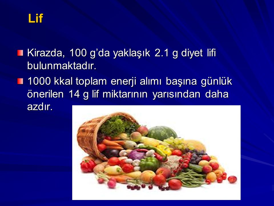 Lif Lif Kirazda, 100 g'da yaklaşık 2.1 g diyet lifi bulunmaktadır. 1000 kkal toplam enerji alımı başına günlük önerilen 14 g lif miktarının yarısından