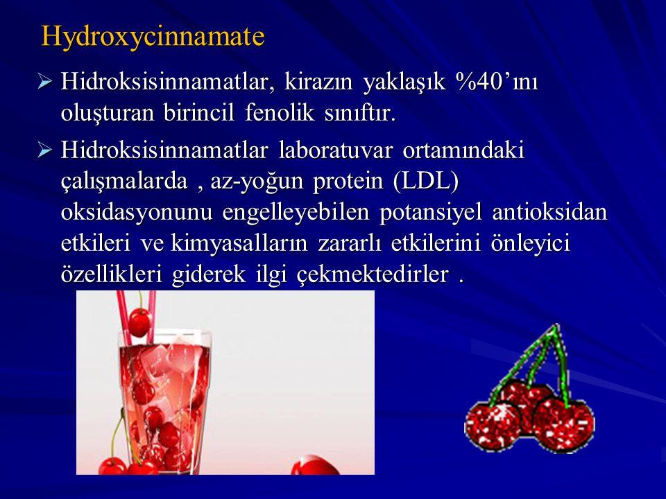 Hydroxycinnamate  Hidroksisinnamatlar, kirazın yaklaşık %40'ını oluşturan birincil fenolik sınıftır.  Hidroksisinnamatlar laboratuvar ortamındaki ça