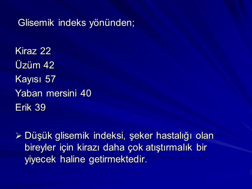 Glisemik indeks yönünden; Glisemik indeks yönünden; Kiraz 22 Üzüm 42 Kayısı 57 Yaban mersini 40 Erik 39  Düşük glisemik indeksi, şeker hastalığı olan