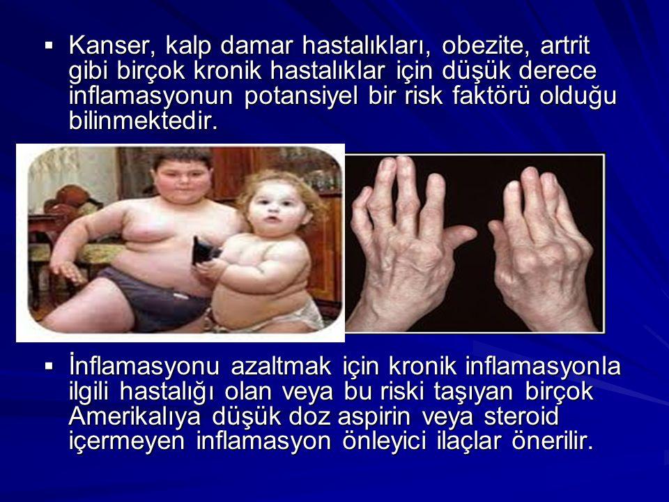  Kanser, kalp damar hastalıkları, obezite, artrit gibi birçok kronik hastalıklar için düşük derece inflamasyonun potansiyel bir risk faktörü olduğu b
