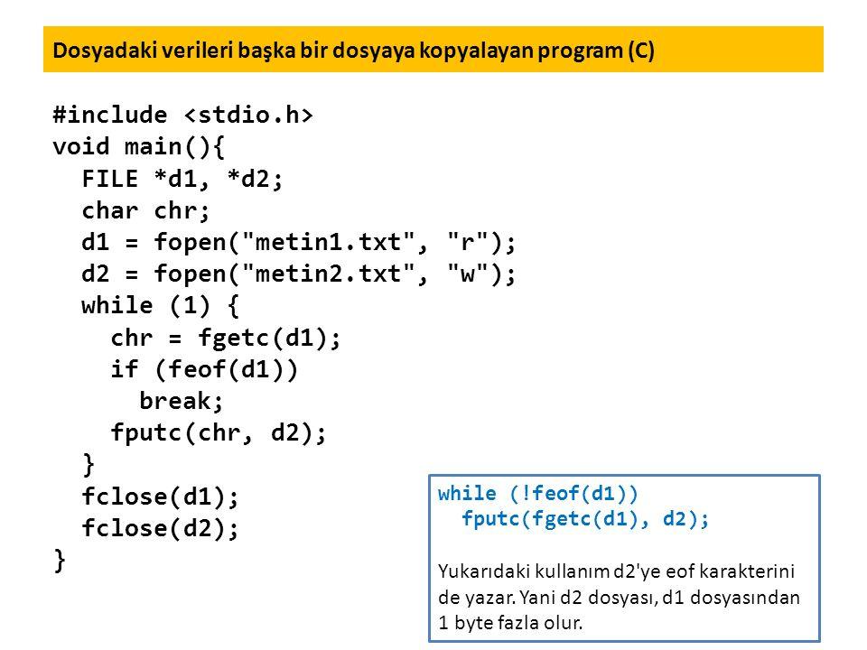 Dosyadaki verileri başka bir dosyaya kopyalayan program (C) #include void main(){ FILE *d1, *d2; char chr; d1 = fopen(