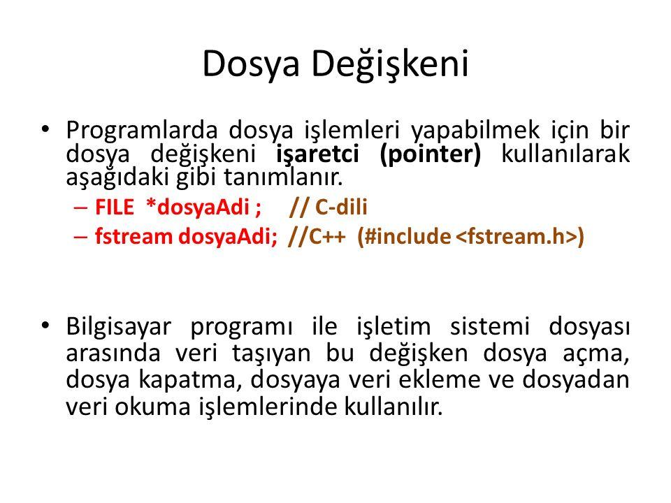 Dosyalama İşlemleri Dosyalarla ilgili yapılan işlemlerde aşağıdaki adımlar takip edilir; – Dosyanın açılması – Dosya ile ilgili işlem yapılması ( kayıt okuma, yazma, düzeltme, silme gibi) – Dosyanın kapatılması Bu işlemleri C-dilinde şöyle ifade ederiz: FILE *dosya; /* dosya göstericisi */ dosya = fopen(const char dosya_adı, const char açma_amacımız);...