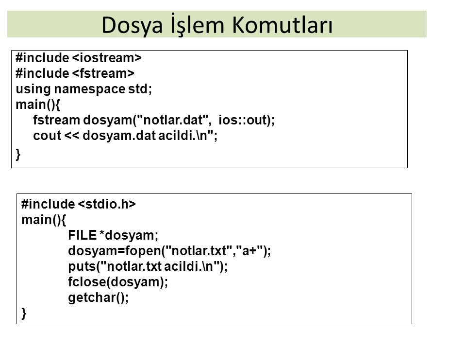 19 C++'da >> operatörü dosya sonuna kadar veri okuma #include using namespace std; int main(){ string isim; fstream dosya( isimler.txt , ios::in); do{ dosya>>isim; cout << isim << endl; }while (!dosya.eof()); dosya.close(); cout << \nBitti\n ; }