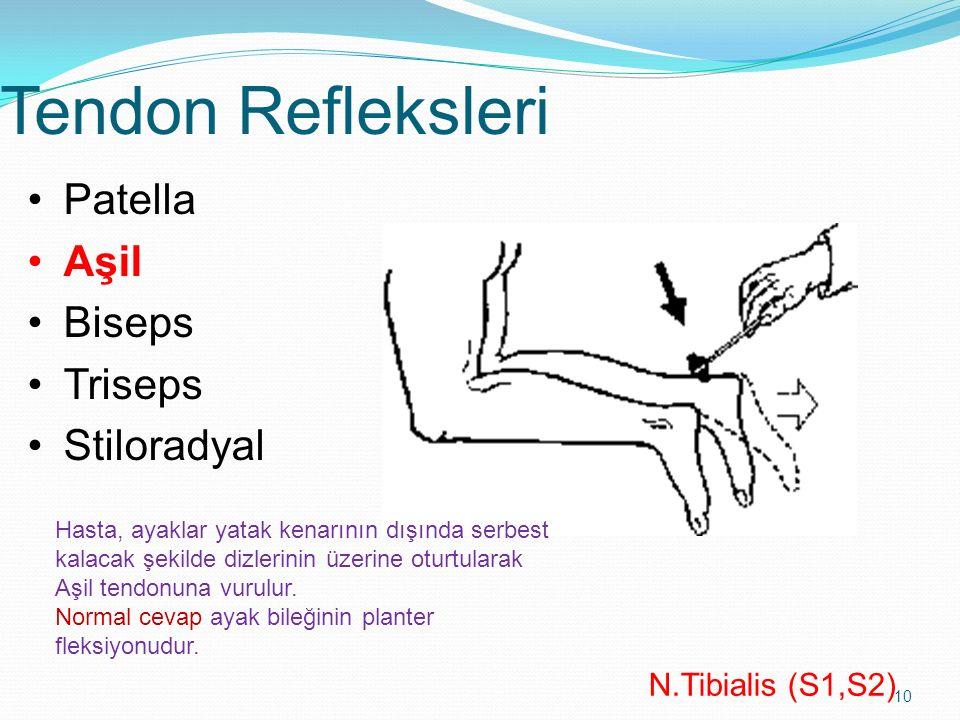 10 Tendon Refleksleri N.Tibialis (S1,S2) Patella Aşil Biseps Triseps Stiloradyal Hasta, ayaklar yatak kenarının dışında serbest kalacak şekilde dizler