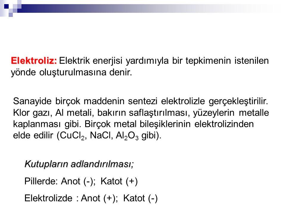 Kutupların adlandırılması; Pillerde: Anot (-); Katot (+) Elektrolizde : Anot (+); Katot (-) Elektroliz: Elektroliz: Elektrik enerjisi yardımıyla bir tepkimenin istenilen yönde oluşturulmasına denir.