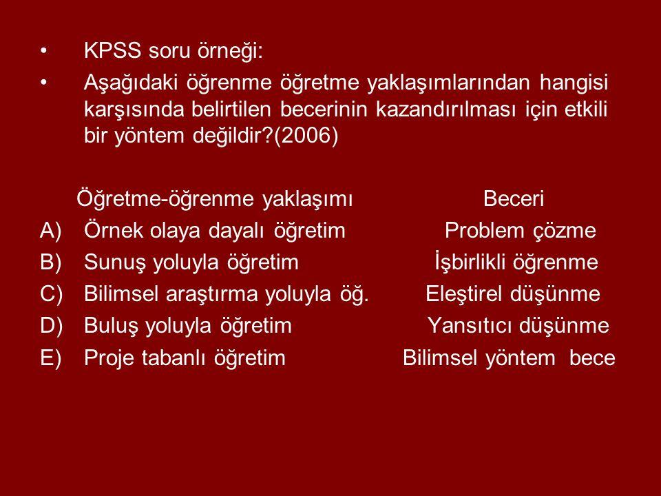 KPSS soru örneği: Aşağıdaki öğrenme öğretme yaklaşımlarından hangisi karşısında belirtilen becerinin kazandırılması için etkili bir yöntem değildir?(2