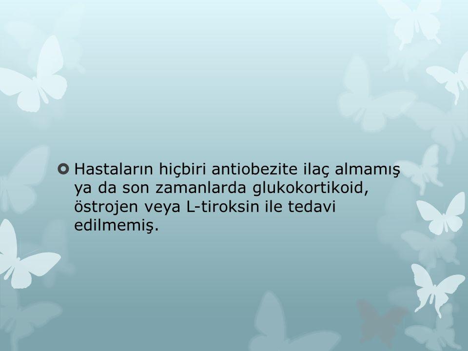  Hastaların hiçbiri antiobezite ilaç almamış ya da son zamanlarda glukokortikoid, östrojen veya L-tiroksin ile tedavi edilmemiş.