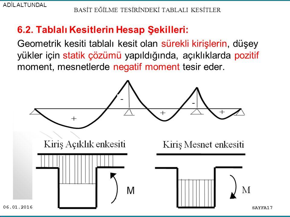 06.01.2016 6.2. Tablalı Kesitlerin Hesap Şekilleri: Geometrik kesiti tablalı kesit olan sürekli kirişlerin, düşey yükler için statik çözümü yapıldığın