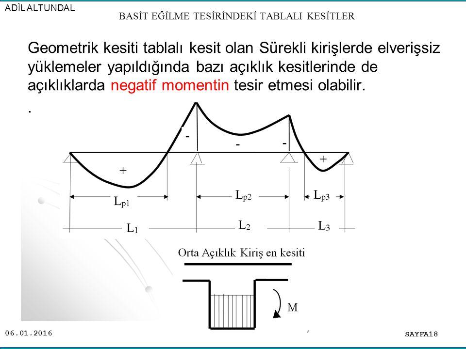 06.01.2016 Geometrik kesiti tablalı kesit olan Sürekli kirişlerde elverişsiz yüklemeler yapıldığında bazı açıklık kesitlerinde de açıklıklarda negatif