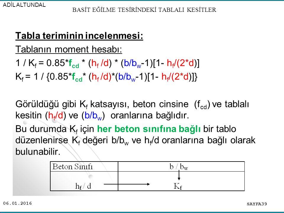 06.01.2016 Tabla teriminin incelenmesi: Tablanın moment hesabı: 1 / K f = 0.85*f cd * (h f /d) * (b/b w -1)[1- h f /(2*d)] K f = 1 / {0.85*f cd * (h f