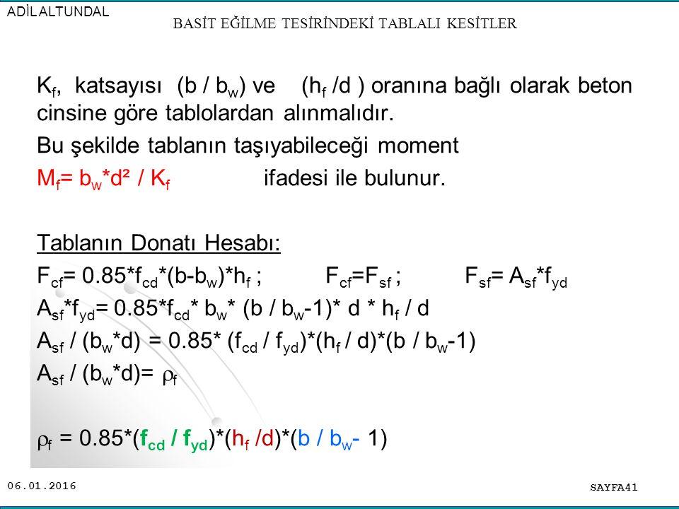06.01.2016 K f, katsayısı (b / b w ) ve (h f /d ) oranına bağlı olarak beton cinsine göre tablolardan alınmalıdır. Bu şekilde tablanın taşıyabileceği