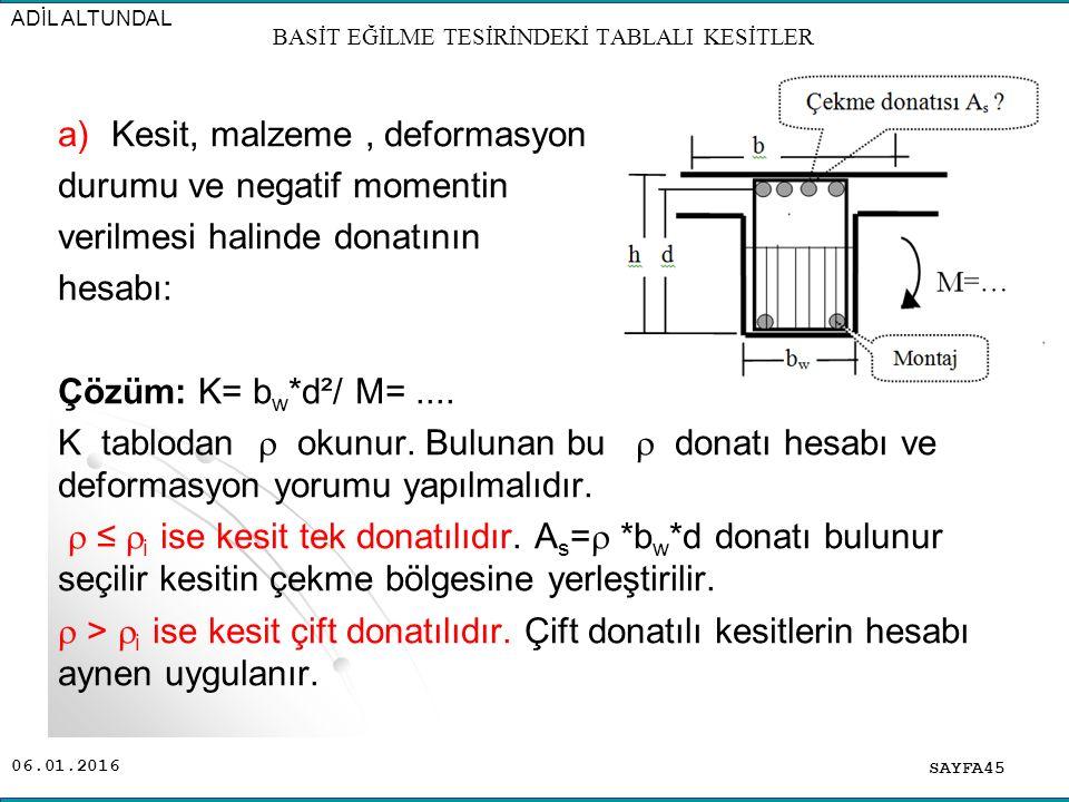 06.01.2016 a)Kesit, malzeme, deformasyon durumu ve negatif momentin verilmesi halinde donatının hesabı: Çözüm: K= b w *d²/ M=.... K tablodan  okunur.