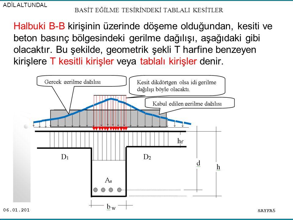 06.01.2016 Halbuki B-B kirişinin üzerinde döşeme olduğundan, kesiti ve beton basınç bölgesindeki gerilme dağılışı, aşağıdaki gibi olacaktır. Bu şekild
