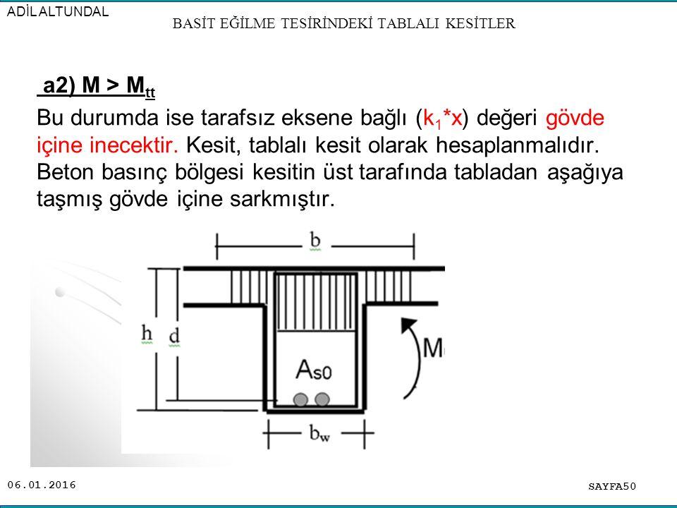 06.01.2016 a2) M > M tt Bu durumda ise tarafsız eksene bağlı (k 1 *x) değeri gövde içine inecektir. Kesit, tablalı kesit olarak hesaplanmalıdır. Beton